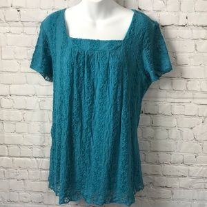 Teal Dressbarn Embroidered Sheer Lined Top